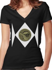 SLOTH! Women's Fitted V-Neck T-Shirt