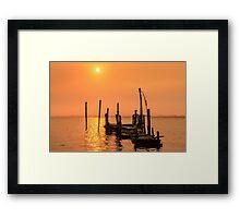 Old dock sunset Framed Print