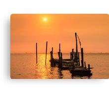 Old dock sunset Canvas Print