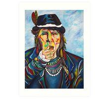 Pipe Smoking Indian Art Print
