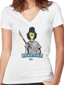 Baseball Fury Women's Fitted V-Neck T-Shirt