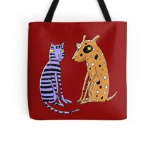 Opposites Attract Cat and Dog Tote Bag