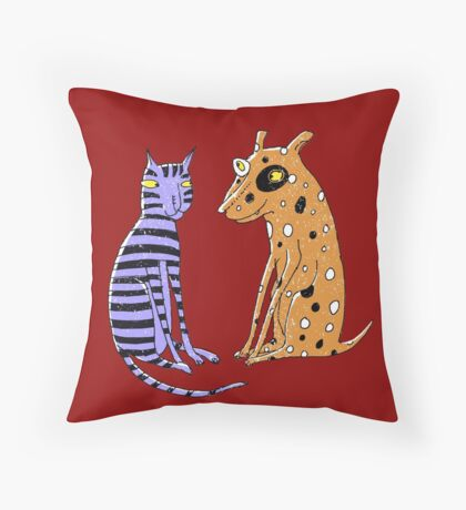 Opposites Attract Cat and Dog Throw Pillow