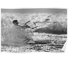 kitesurfer splashing water Poster