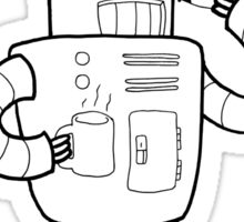 Robots are People Too- Black and White Cartoon Beauty and Powerful Message Sticker