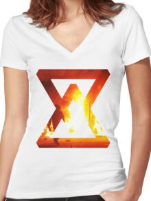 Fire - abstract Women's Fitted V-Neck T-Shirt