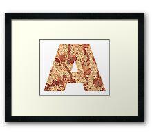 A, Indonesian Batik Alphabet Letter Framed Print