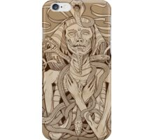 image of pharaoh mummy with snakes on parchment iPhone Case/Skin
