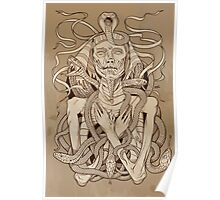 image of pharaoh mummy with snakes on parchment Poster