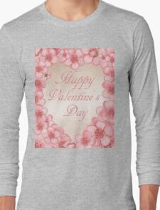 Happy Valentine In Pink Long Sleeve T-Shirt