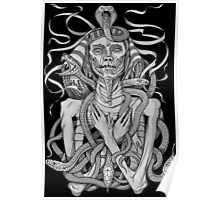 grayscale image of pharaoh mummy with snakes Poster