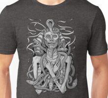 grayscale image of pharaoh mummy with snakes Unisex T-Shirt