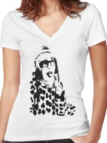 Moo Women's Fitted V-Neck T-Shirt