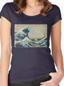 Vintage poster - The Great Wave Off Kanagawa Women's Fitted Scoop T-Shirt