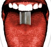 Tongue Cut by Kitchen Knife Photo Collage Sticker