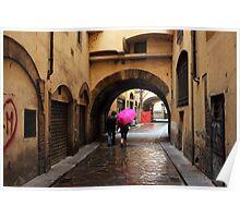 Pink Umbrella Poster