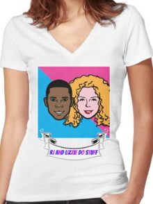 RJ and Lizzie Do Stuff Women's Fitted V-Neck T-Shirt