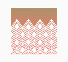 Ornate White Geometric Pattern on Taupe Coral Gradient Classic T-Shirt