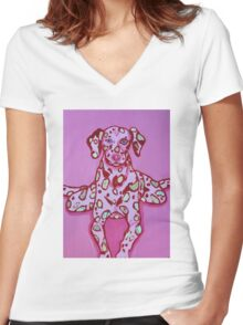 Frog Dog Women's Fitted V-Neck T-Shirt