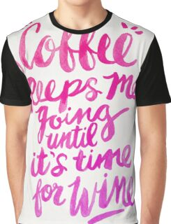 Coffee & Wine – Pink Ombré Graphic T-Shirt