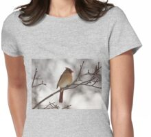 Perched Female Red Cardinal Womens Fitted T-Shirt