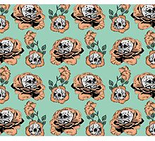 Flower Skull Pattern Photographic Print