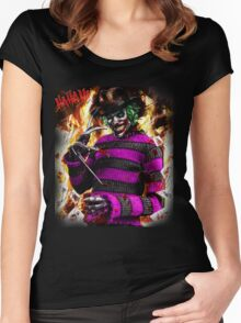 the joker- freddy krueger mash up  Women's Fitted Scoop T-Shirt