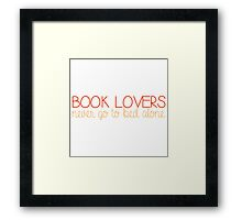 Book Lovers Never Go to Bed Alone - Orange/Red Framed Print