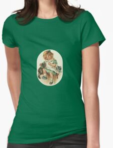 St. Patricks Girl and Kittens Womens Fitted T-Shirt