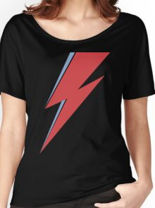 Ziggy Stardust - Lightning - On Black Star  Women's Relaxed Fit T-Shirt