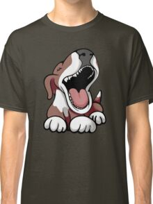 Laughing Bull Terrier White & Brown Classic T-Shirt