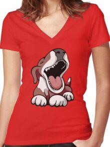 Laughing Bull Terrier White & Brown Women's Fitted V-Neck T-Shirt