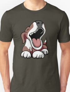 Laughing Bull Terrier White & Brown Unisex T-Shirt
