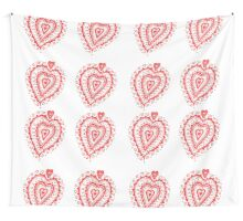 Valentine Heart 8 Red  Wall Tapestry