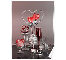 You & Me In Love Red Platinum Valentine Hearts Poster