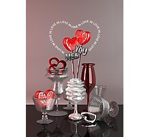 You & Me In Love Red Platinum Valentine Hearts Photographic Print