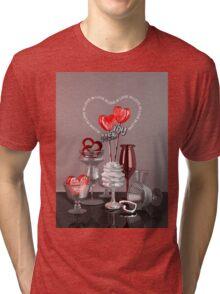 You & Me In Love Red Platinum Valentine Hearts Tri-blend T-Shirt