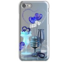 Here's to Us Royal Blue Glass Valentine Hearts iPhone Case/Skin