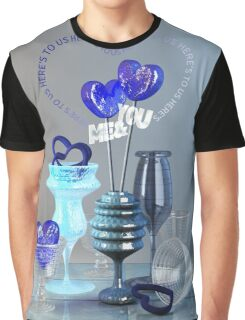 Here's to Us Royal Blue Glass Valentine Hearts Graphic T-Shirt