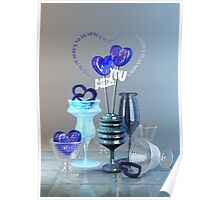 Here's to Us Royal Blue Glass Valentine Hearts Poster