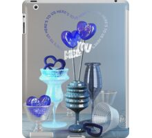 Here's to Us Royal Blue Glass Valentine Hearts iPad Case/Skin