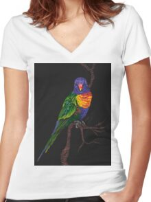 Rainbow Lorikeet Women's Fitted V-Neck T-Shirt