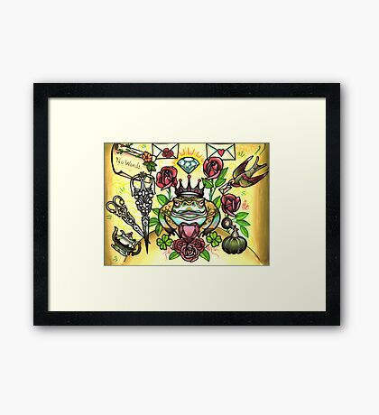 frog prince and scissors, love letters Framed Print