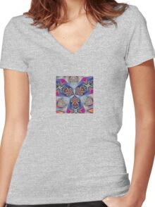 The Rule of Thirds Abstract Kaleidoscope Pattern Women's Fitted V-Neck T-Shirt