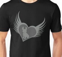 Grey flying heart, French Bulldog design Unisex T-Shirt