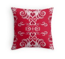 Hearts in damask -red Throw Pillow
