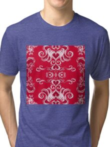 Hearts in damask -red Tri-blend T-Shirt