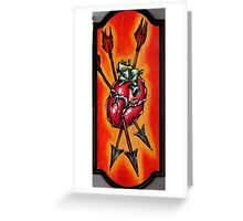 anatomical heart painting with arrows, psychedelic art Greeting Card