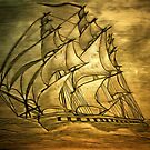 A digital painting of my pencil drawing of a Clipper Ship by Dennis Melling