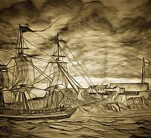 A digital painting of A Sailing Ship off Castle Cornet in Guernsey by Dennis Melling